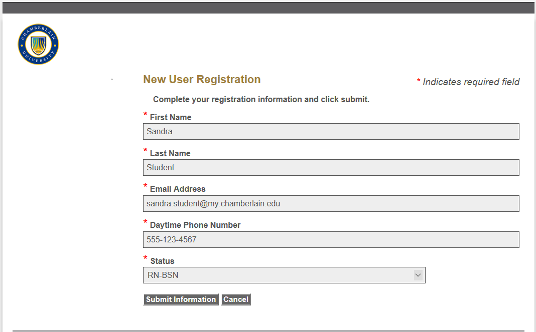 Example of information that needs to be filled out to create an account