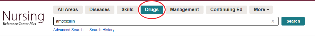 Drug search option from menu at top of page.