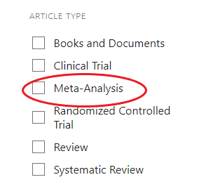 Meta-Analysis article type limiter in PubMed