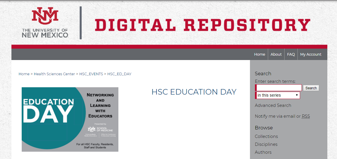 Snapshot of the UNM Digital Repository HSC Education Day locatin