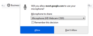 Google Meets Brightspace Microphone