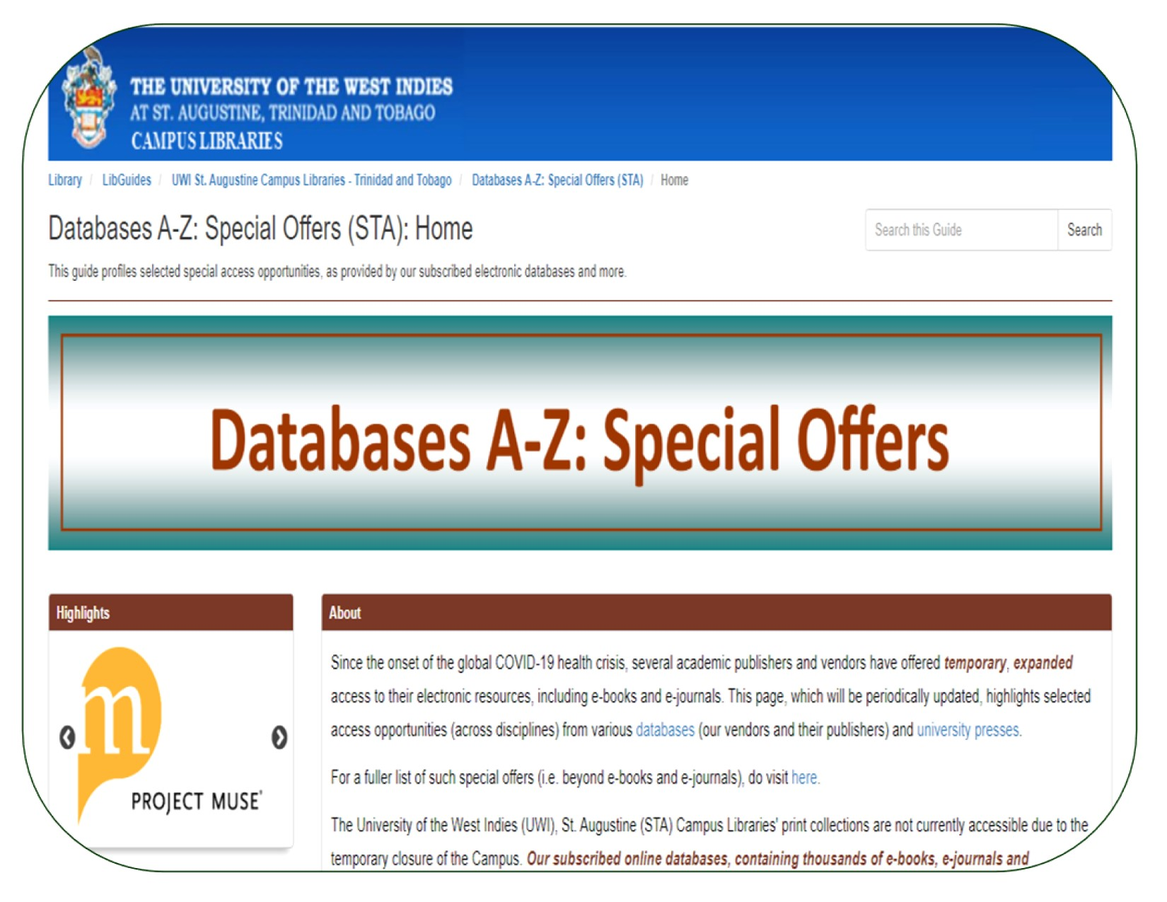 LibGuide -- Databases A-Z: Special Offers (Screenshot)