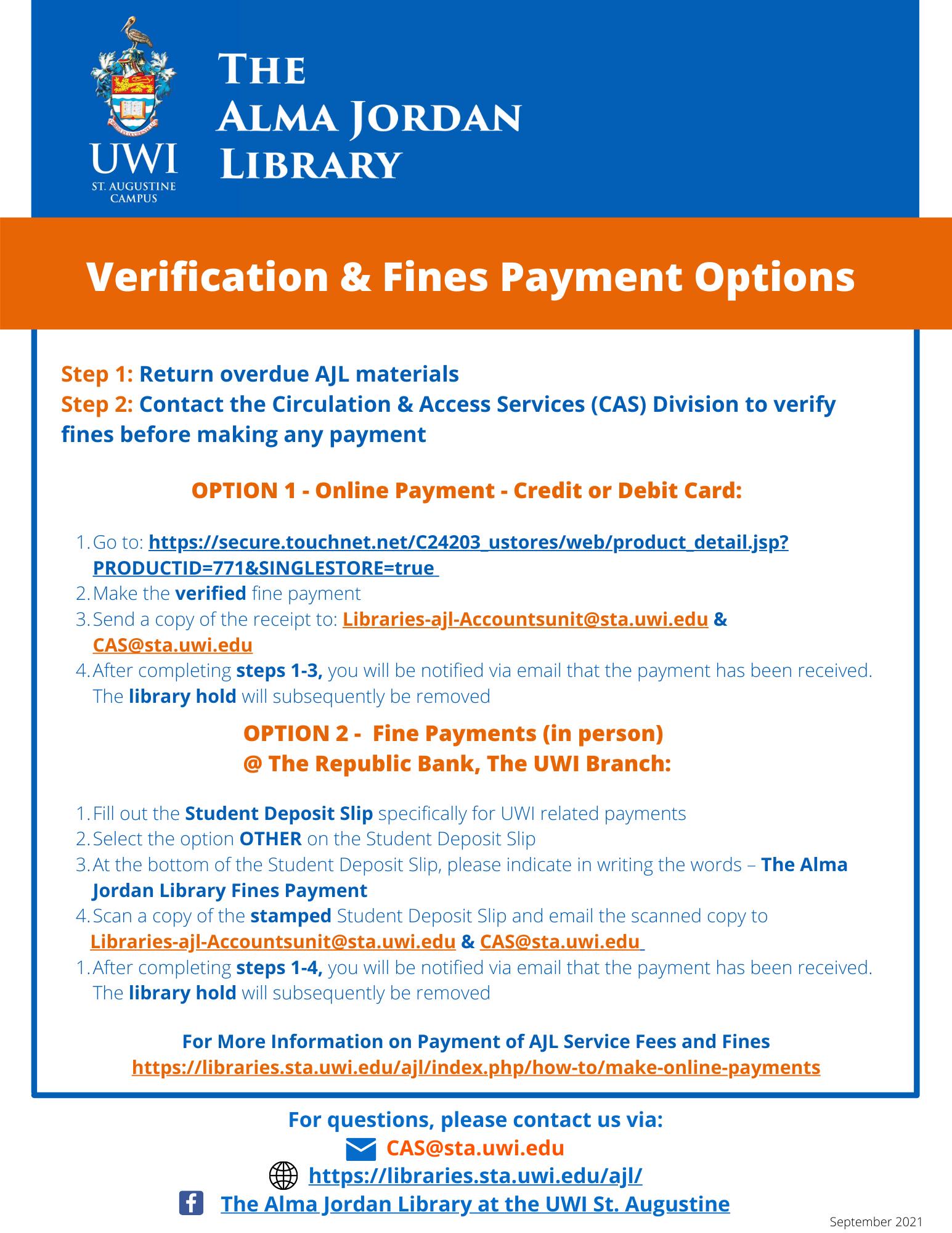 Verification & Fines Payment Options