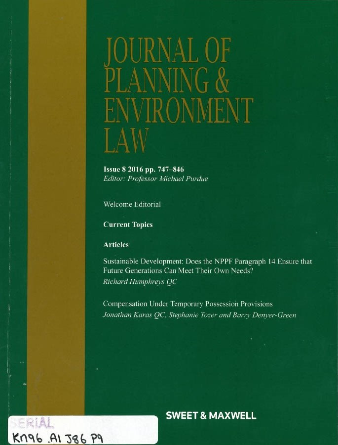 Journal of planning and environment law.