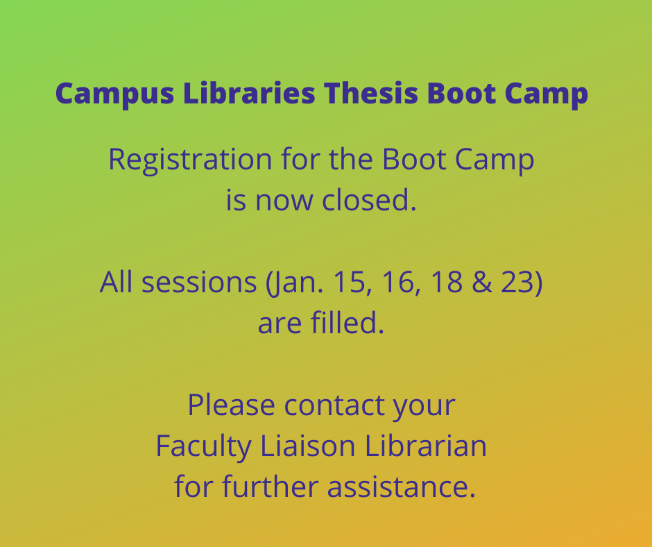 Registration for the Campus Libraries Thesis Boot Camp is now closed.