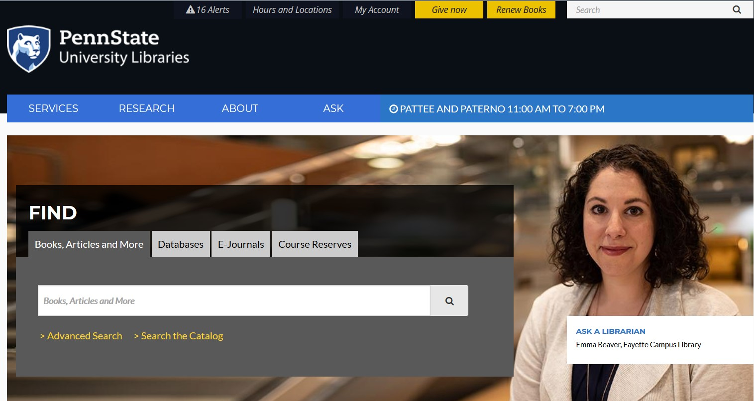 Screenshot of the Libraries home page