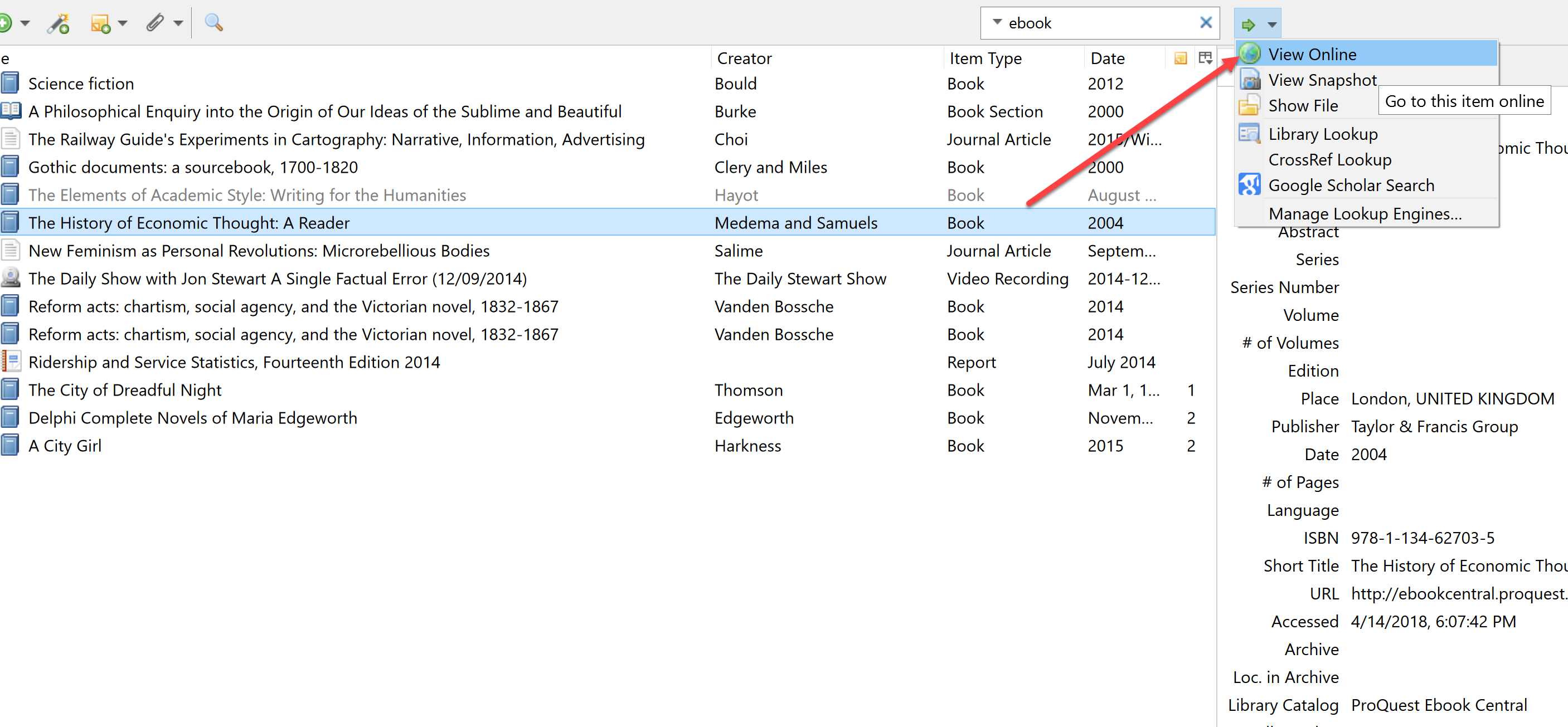 Zotero's Locate menu with View Online option highlighted