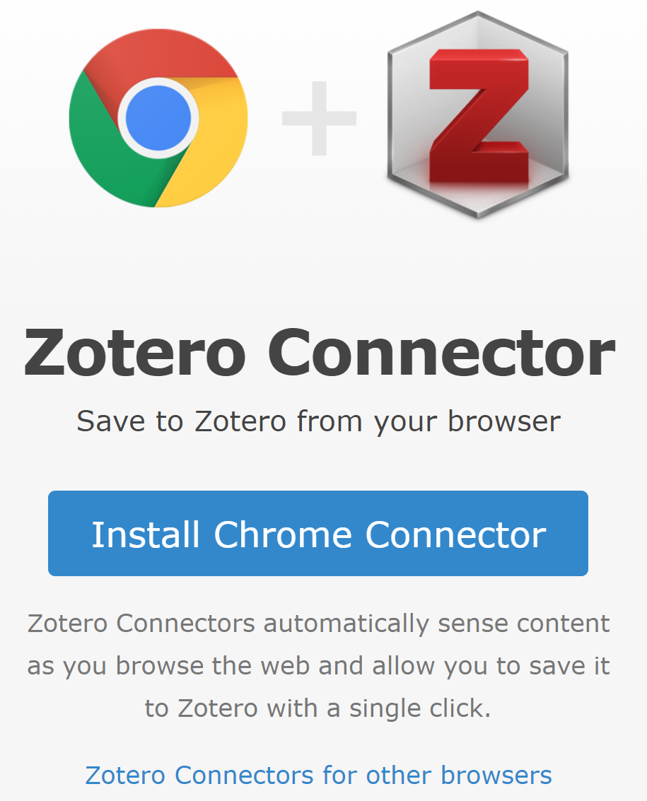 Zotero Connector installation button on zotero.org.