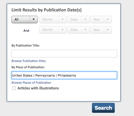 Place of Publication Search