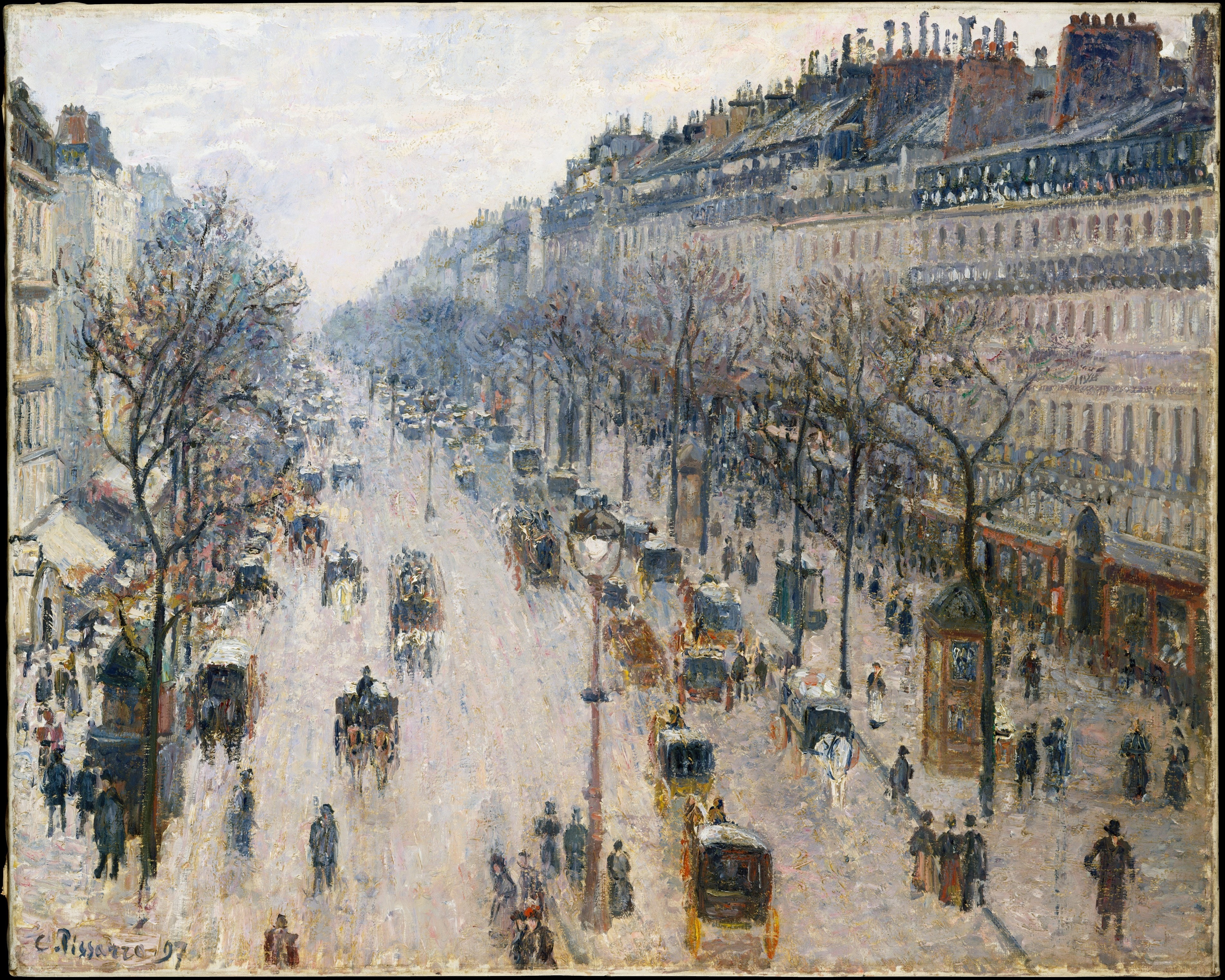 The Boulevard Montmartre on a Winter Morning,1897 by Camille Pissarro