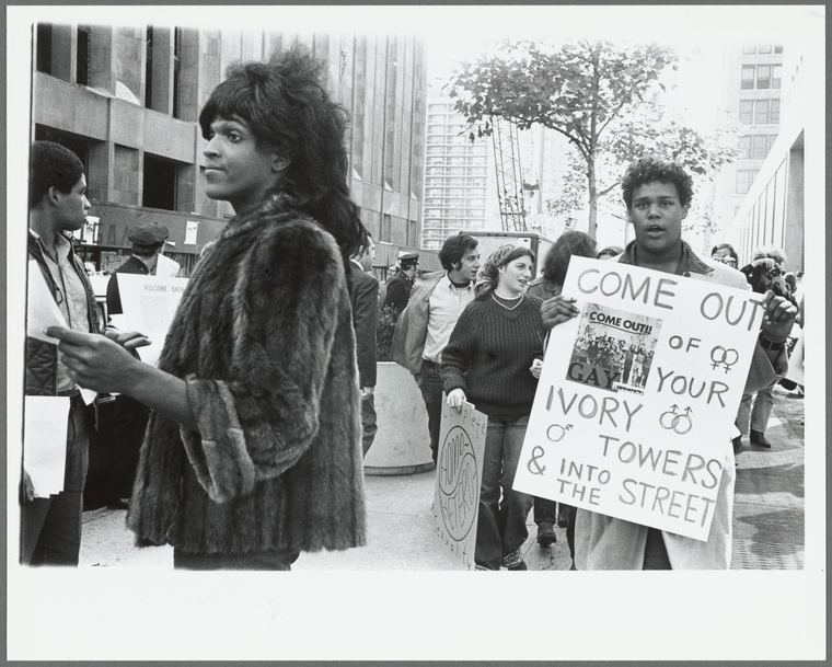 Marsha P. Johnson hands out flyers for support of gay students at N.Y.U. (photograph)