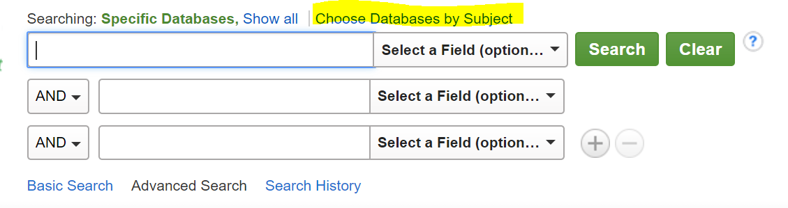 A screenshot of the databases search box
