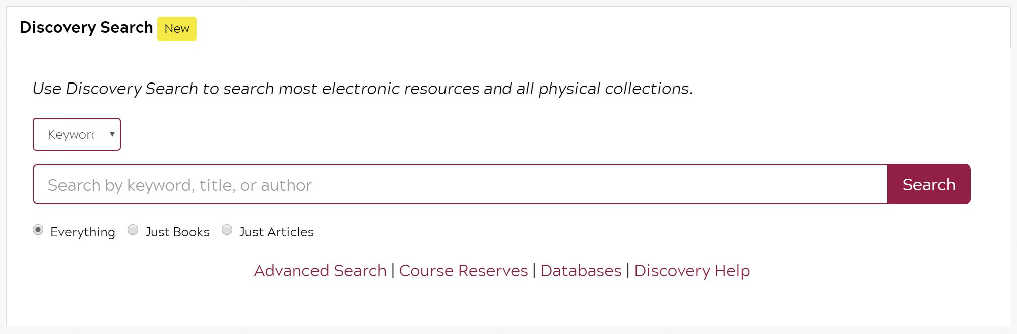 Basics search box for Discovery Search