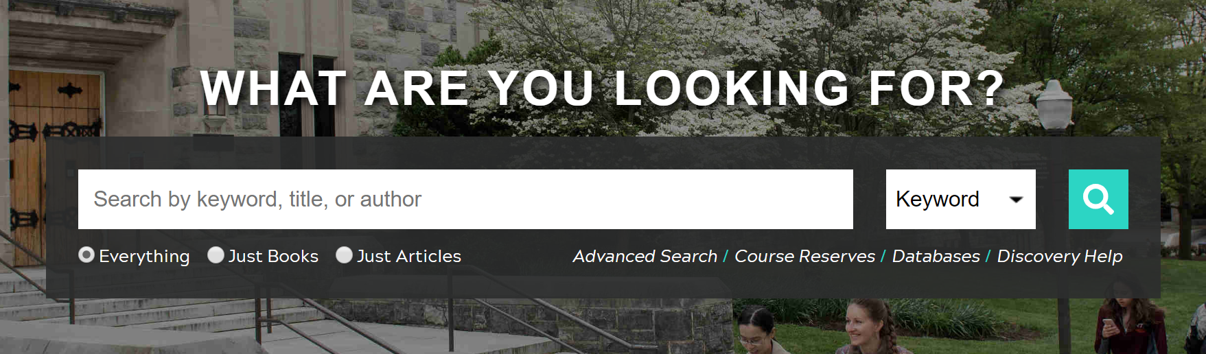 Screenshot of search box on main library homepage