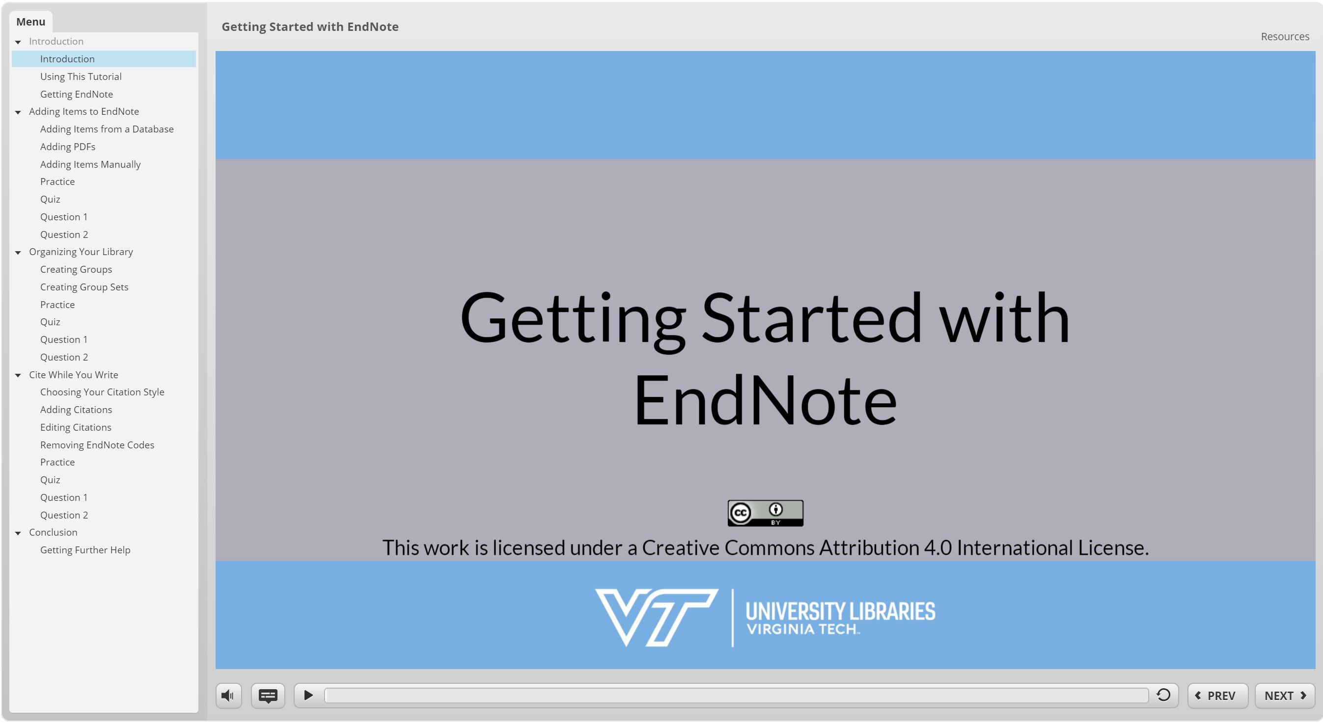 screenshot of EndNote tutorial