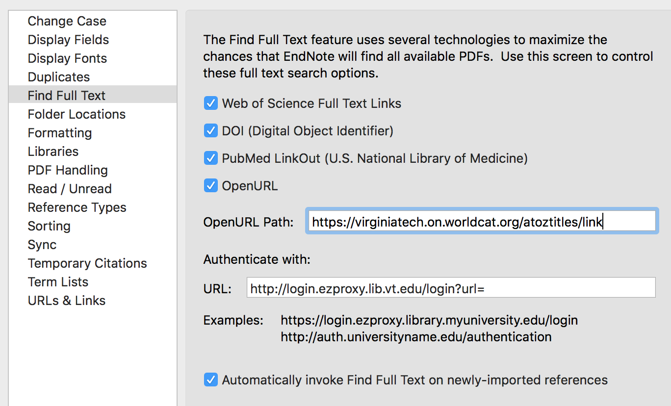"The Find Full Text page of the EndNote preferences menu showing the ""OpenURL path"" and ""Authenticate with"" text entry boxes"
