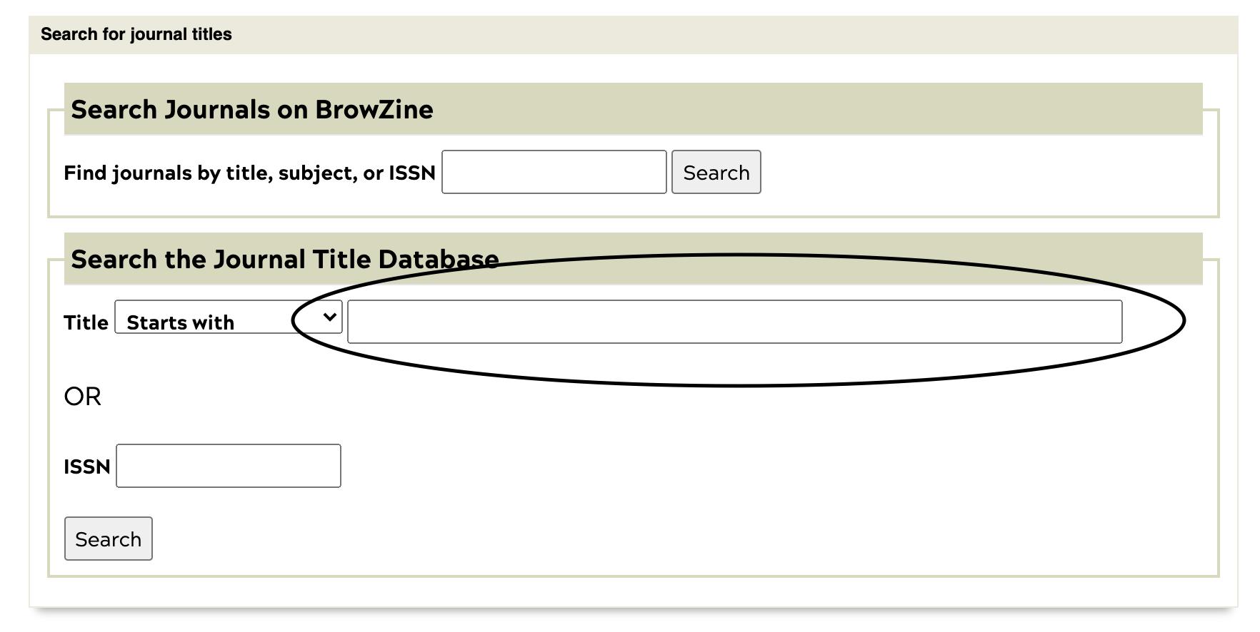 Journal finder search box