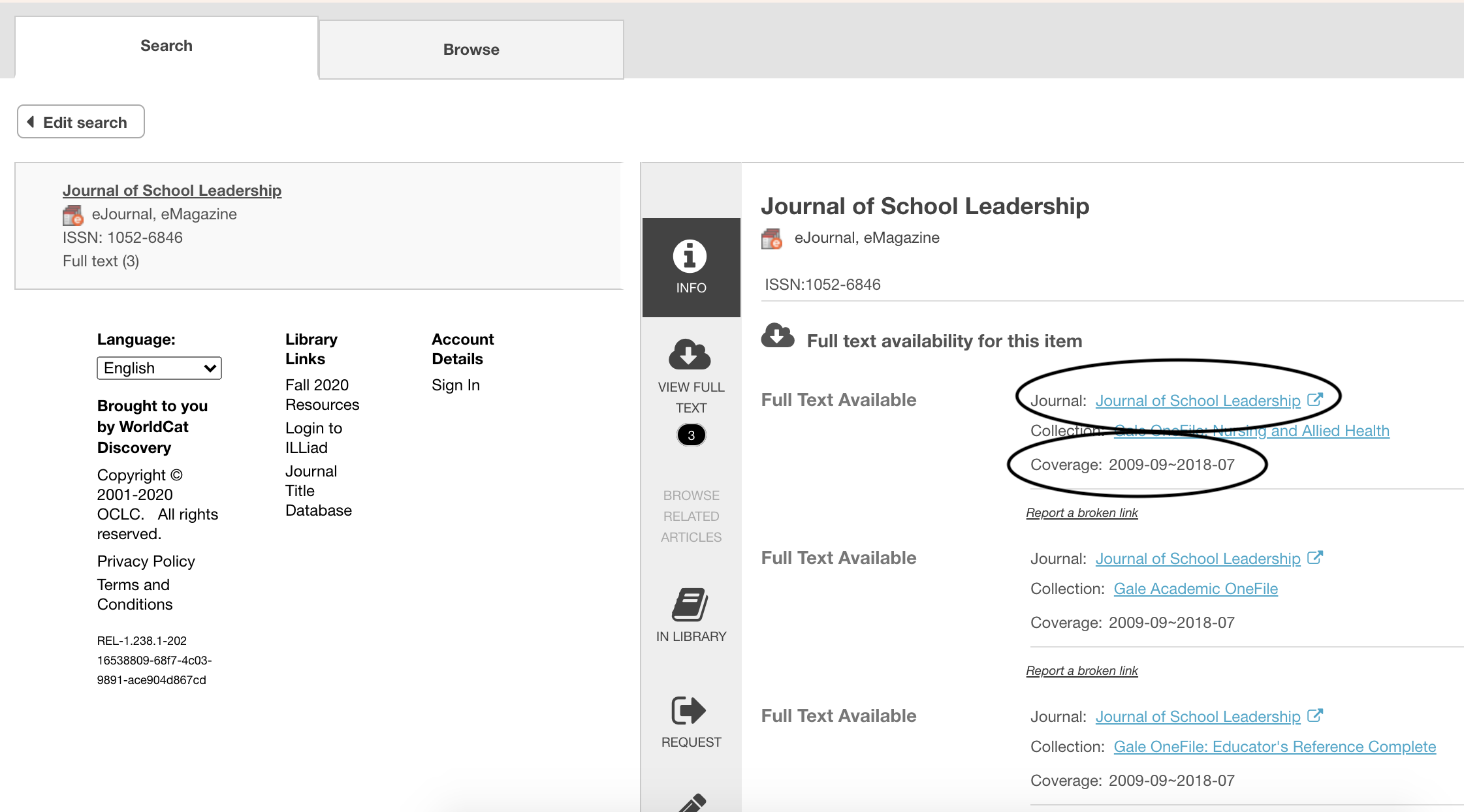 Screenshot of journal search results page