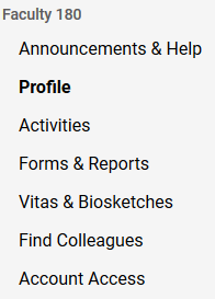List of choices in Folio Profile Menu