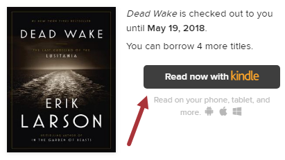 """Screenshot of Dead Wake book jacket, with an arrow pointing to the """"Read now with Kindle"""" button."""