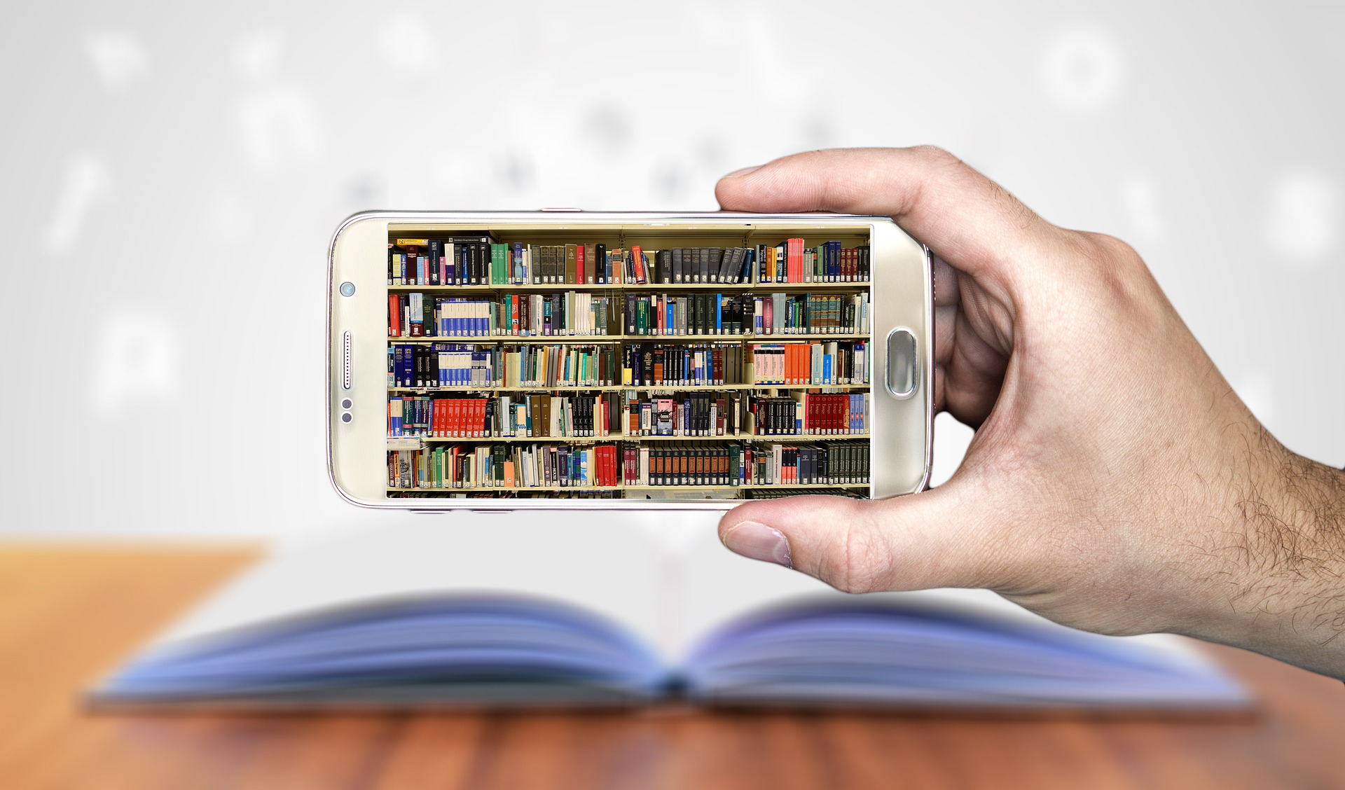 Photo illustration of a smart phone and books