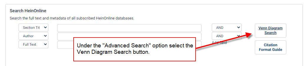 Advanced Search Venn Diagram button