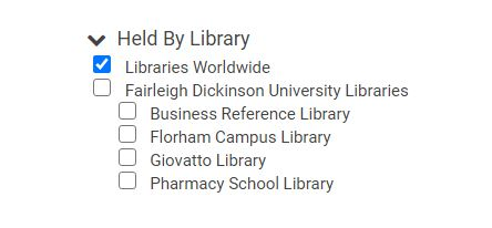 libraries worldwide menu option