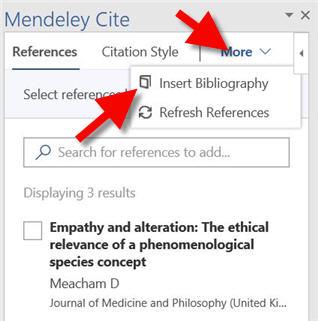 bibliography tab