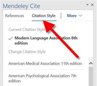 select citation tab