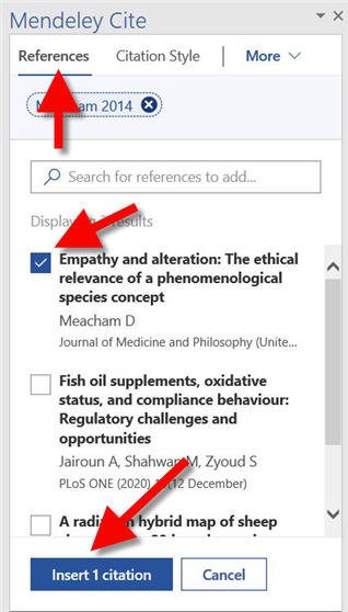 mendeley reference tab