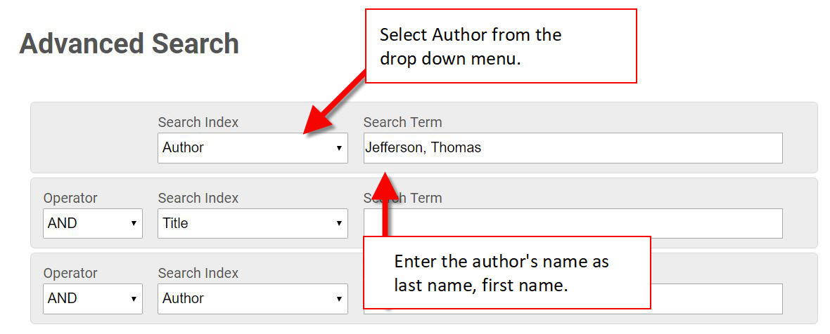 author search advanced search