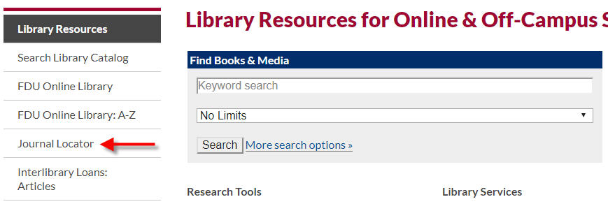 Library Homepage highlighting Journal Locator Link