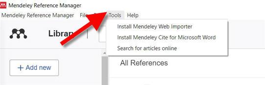 mendeley tools menu