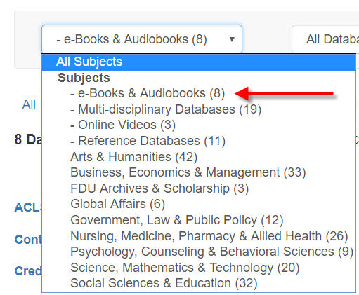 Select ebooks from the subject menu