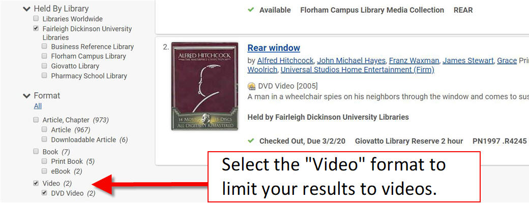 library catalog filter by video