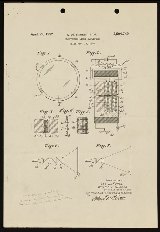 figures from the patent for an electronic light amplifier