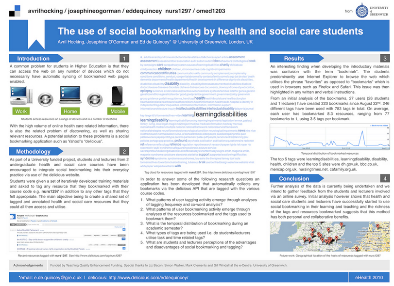 Use of social bookmarking by health and social care students poster