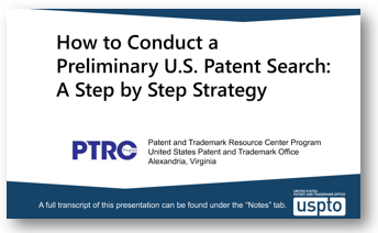 screen shot from PTRC patent search tutorial