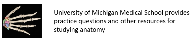 University of Michigan Medical School provides practice questions and other resources for studying anatomy