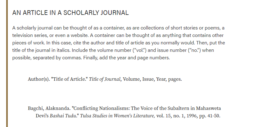 Picture showing how to cite a Scholarly Journal from the Purdue Owl MLA Writing Lab website.