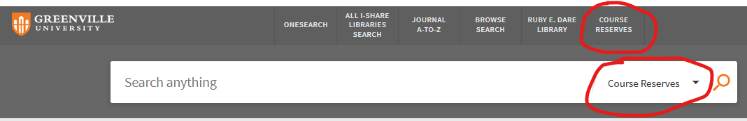 Image of the search bar from Greenville University OneSearch showing where to click to search for course reserves.