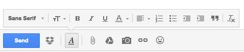Gmail editor buttons to change fonts, bold, italics, underline, change colors, format text, create lists, add quotes, and clear formatting.