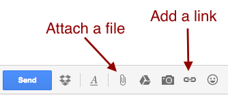 The Gmail interface offers options to attach a file, and add a link, along with much more.