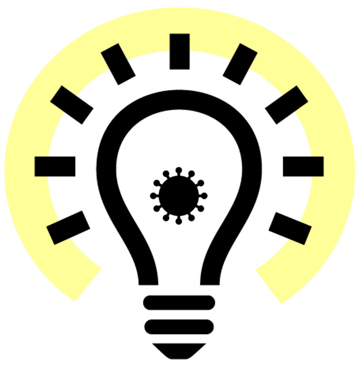 Icon of a lightbulb with coronavirus outline at its center