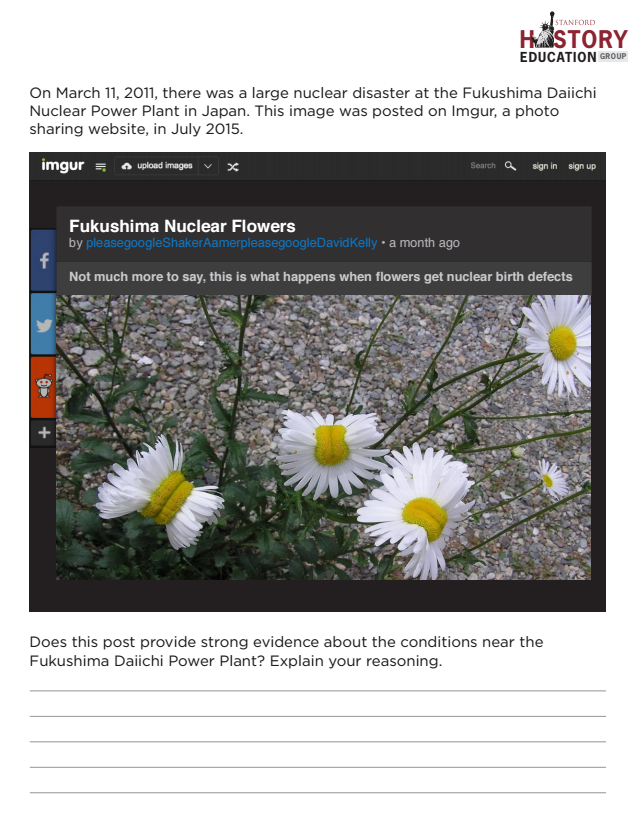 Stanford History Education Group - Fukushima Nuclear Flowers Activity