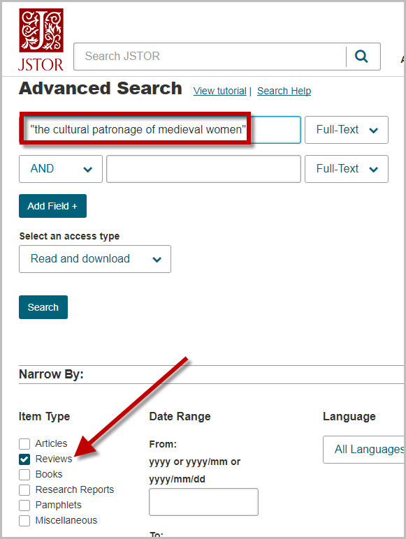 Conducting a search for book reviews in JSTOR