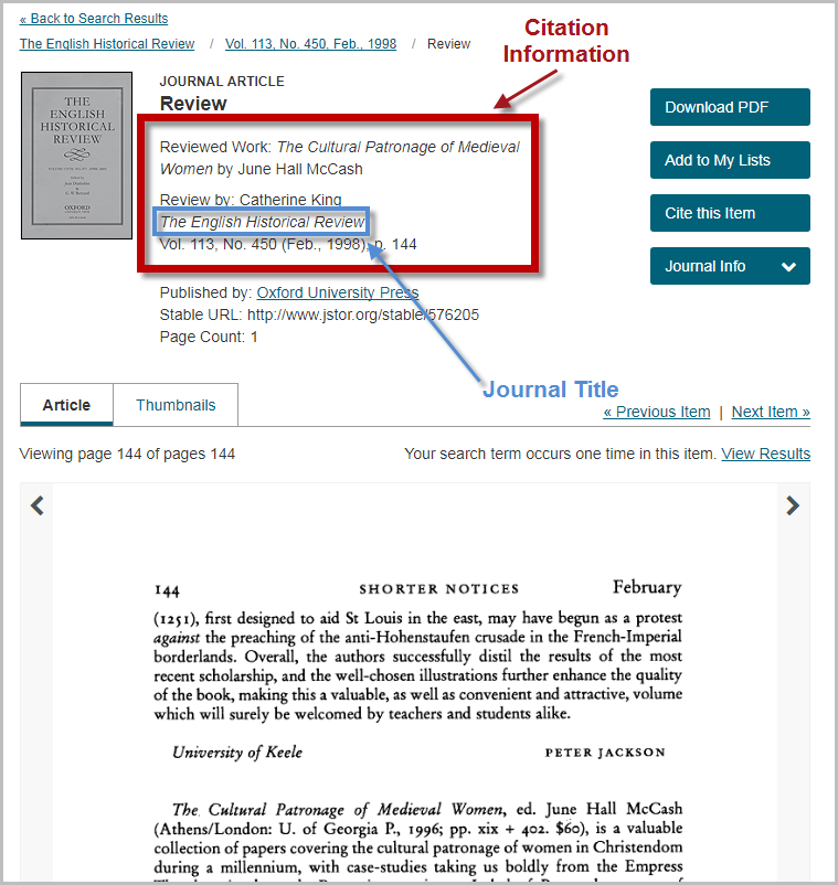 Locating citation information for a JSTOR journal article