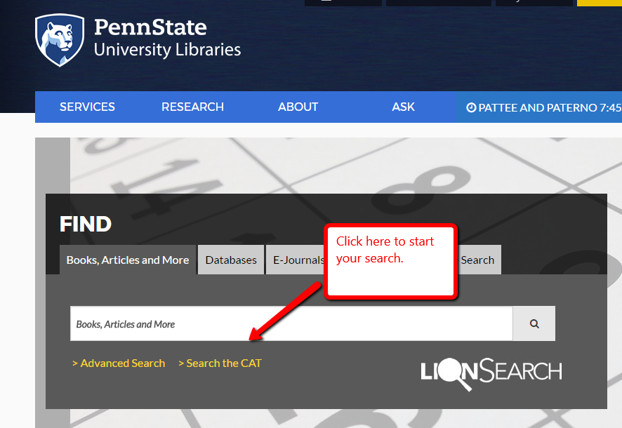 Screen shot of the libraries home page showing the link to The CAT
