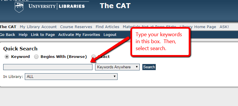 Screen shot of a CAT search showing the search box where you can type in your keywords