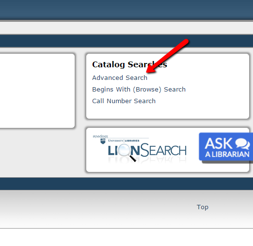 "Screen shot of the CAT showing the location of the link to the ""advanced search"" mode"